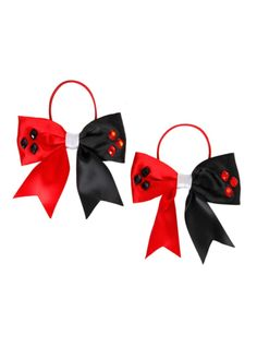 Set of two Harley Quinn themed elastic tie hair bows with faceted plastic gem detailing.