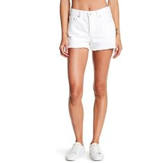 Levi's Frayed Denim Short (€22) ❤ liked on Polyvore featuring shorts, lost horizon, frayed denim shorts, frayed jean shorts, zipper shorts, short jean shorts and frayed shorts