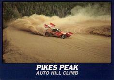 Pikes Peak Hill Climb postcard. Wells Coyote race car.