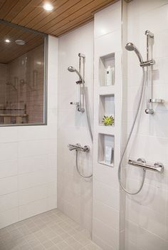 Five Simple Bathroom Decorating Ideas Bathroom Niche, Laundry Room Bathroom, Shower Niche, Bathroom Toilets, Bathroom Renos, Bathroom Interior, Bathroom Vanities, Double Shower Heads, Sauna Shower