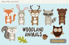 7 adorable woodland animals, plus leaf and acorn. Files measure approximately 6 inches. Format: 300 DPI JPG and PNG (transparent background), and EPS.