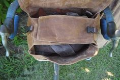 Brown Waxed Canvas Bicycle Handle Bar and Messenger Bag. $75.00, via Etsy.