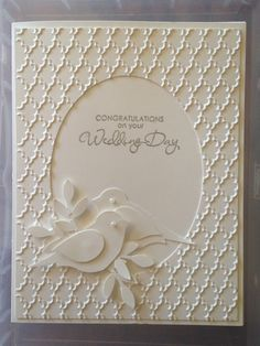 Wedding Card details and how to here: http://www.greetingsbygosia.com/2015/02/two-lovely-white-on-white-cards-very.html