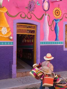 Colorful! Ajijic Doorway, Jalisco, Mexico. I remember these colorful houses and people in the streets selling about every Mexican Handmade Crafts!!! :)
