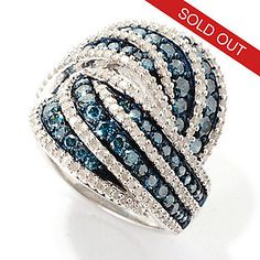 Diamond Treasures® Sterling Silver 2.46ctw Fancy Color Diamond Interlocking Ring
