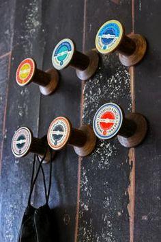 Vintage cotton reel hooks.