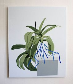 Karl-Joel Lrsn 'Untitled Plant Painting' 2015, acrylic and vinyl paint on canvas, 81×100 cm