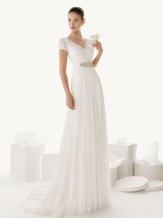 V-neck Short Sleeve Chiffon Waistline Pleated A-line Wedding Dress