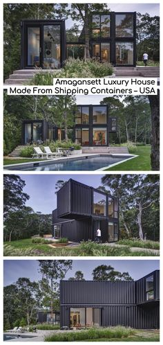 In the East Hampton village of Amagansett, Manhattan-based MB Architecture has completed their largest and most complex prefab project to date: a square foot shipping container home that emphasizes indoor/outdoor living. Shipping Container Home Designs, Shipping Container House Plans, Container House Design, Shipping Containers, Prefab Shipping Container Homes, Building A Container Home, Container Buildings, Container Architecture, Casas Containers