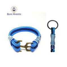 Bran Marion Light, Dark Blue and White Nautical Bracelet & Keychain Nautical Bracelet, Nautical Jewelry, Light In The Dark, Dark Blue, Blue And White, Marine Rope, Everyday Look, Handmade Bracelets, Jewelry Collection