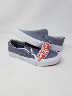 VANS CLASSIC SLIP ON GREY WHITE PATENT LEATHER MEN S SIZE 4.5 WOMEN S SIZE  6 NEW  fashion  clothing  shoes  accessories  unisexclothingshoesaccs ... 8b16fbfc4
