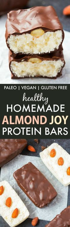 Healthy Homemade Almond Joy Bars (V, GF, P, DF): Easy and foolproof recipe for homemade Almond Joy candy bars packed with protein and no refined sugar! Chocolate, coconut and almonds in o (Gluten Free Recipes Easy) Paleo Dessert, Gluten Free Desserts, Healthy Desserts, Gluten Free Recipes, Vegan Recipes, Dessert Recipes, Paleo Vegan, Paleo Diet, Easy Recipes