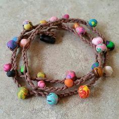 "Boho style wrap bracelet Handmade boho style wrap bracelet. Can be worn as a bracelet, anklet or even a necklace. 25"" long. Made with hemp cord and handmade clay beads. Ravens Hollow  Jewelry Bracelets"