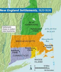 New England consist of New Hampshire, Massachusetts, Rhode Island, and Connecticut.  This region is mostly settled by the Separatists and the Puritans, people who wanted religious freedom.