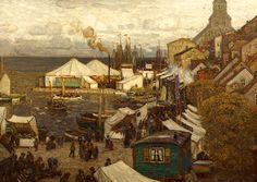 "Hans Hartig,   ""Cammin Markt fest am Hafen"", 1910"