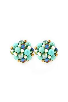 Clusters of pretty Turquoise Semi-Precious Stone Beads, Pearls and Vitrail Crystals.