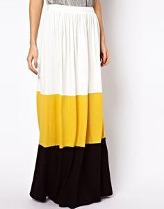 ASOS Maxi Skirt in Color Block