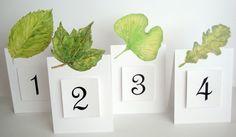 Green Leaf  Table Number card weddings parties by evLienDesigns, $2.50
