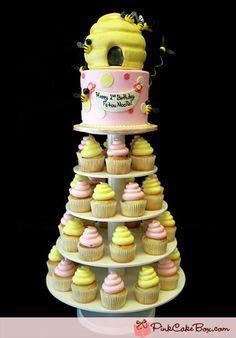 Honey Beehive Cupcake Tower
