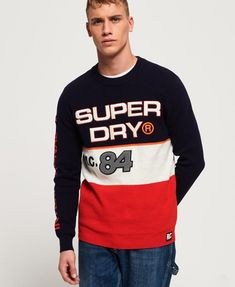 Discover the latest trends in menswear & womenswear at Superdry US. Shop this season's collection of clothes, accessories, sportswear & more with free delivery Superdry Style, Superdry Mens, Free T Shirt Design, Shirt Designs, Cotton Jumper, Mens Jumpers, Red Hoodie, Boys Shirts, Crew Neck