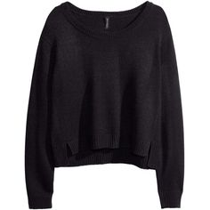 H&M Knitted jumper ($9.98) ❤ liked on Polyvore featuring tops, sweaters, shirts, jumpers, black, round neck sweater, short jumper, long sleeve tops, short shirts and short sleeve long sweater