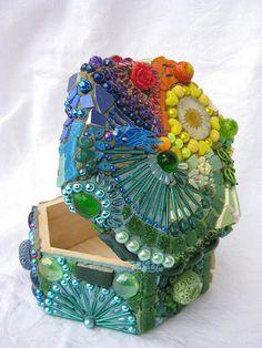 Mosaic rainbow box by Waschbear - Frances Green, via Flickr