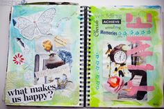 Visual Journal... not just writing, but also art, magazine articles and pictures... anything that inspires. This could be a fun project for school, too. journal idea, activities for kids, art journals, visual art for kids, visual journal, art journal techniques, preschooler scrapbook craft