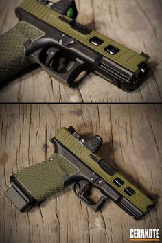 Evolve Weapons Systems Glock 19 with Cerakote Noveske Bazooka Green featuring custom challenger cuts and two tone basket weave stippling.