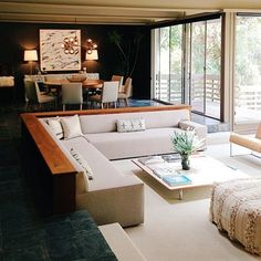 sunken living room- Midcentury Masterpiece: The Strimling House by Ray Kappe — Dwell on Design 2013 Living Room Interior, Home Living Room, Home Interior Design, Living Room Designs, Living Room Furniture, Living Room Decor, Furniture Decor, Corner Sofa Living Room, Interior Livingroom