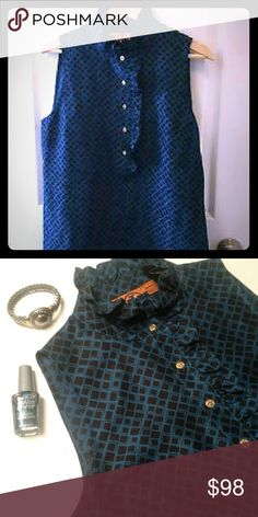 """Tory Burch Geo Print Top Cute ruffled neck top with gold double """"T"""" logo buttons. 100% silk. Tory Burch Tops"""
