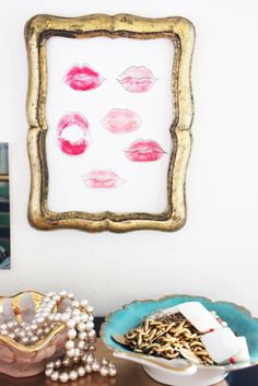 "Little Green Notebook blog :: ""I made the lips print on a whim while I was trying to find the perfect shade of red lipstick. It reminded me of Andy Warhol's Lips Print so I blotted, outlined, and framed it!"""