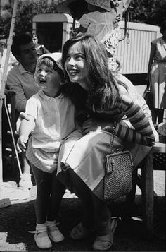"Leslie Caron and her son Christopher Hall visit the set of ""Fanny"""