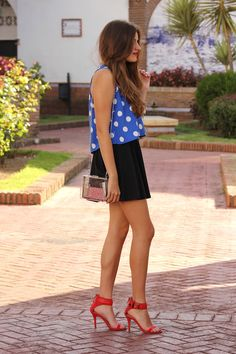 Polka Dot Blouse+Skater Skirt