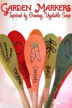 DIY Garden Markers Inspired by Lois Ehlert's Growing Vegetable Soup - Get ready to start your seeds with your kids this Spring by reading Lois Ehlert's Growing Garden boxed set and create your own DIY, permanent Garden Markers