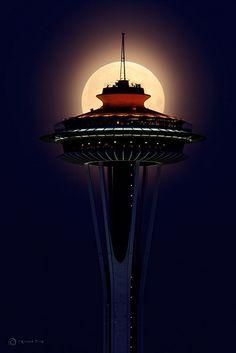 Supermoon on Top of Space Needle - Seattle, Washington