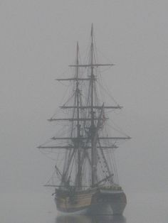 The tall ship Lady Washington at anchor in fog in the San Juan Islands of Washington State. Photo by Grays Harbor Historical Seaport Authority. - The Historical Seaport: Images#!i=249132195=yf4XH