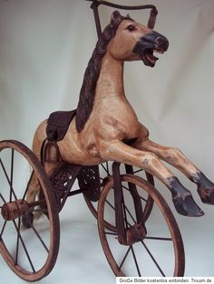 Tricycle Wooden Rocking Horse Jumper Carousel Horse on Wheels
