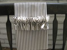 The Mary - SET of 2 Ruffled Black Ticking Dish or Tea Towels