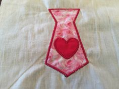 Heart Tie Valentine Day Applique Embroidered White Bib Color Bib