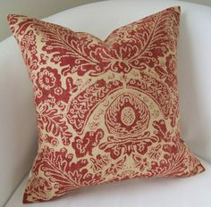 Batik Red Decorative Pillow Cover 18 Inch Accent Throw Cushion