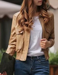 »Stylish Turn-Down Collar Long Sleeve PU Leather Solid Color Jacket«