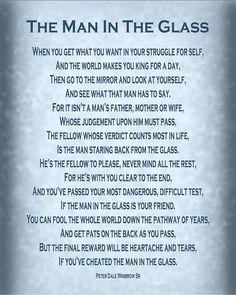 The Man in the Glass Poem - Blue Grey Art Print by Ginny Gaura
