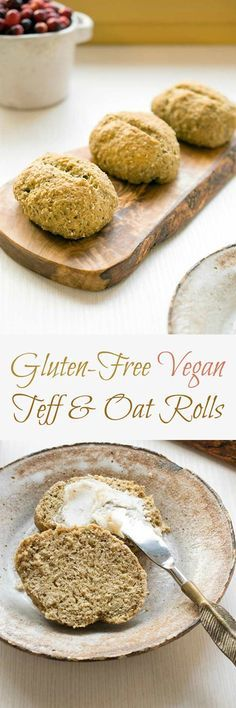 These gluten-free and vegan rolls are made with teff flour and ground oats. They even stay moist longer than most gluten free rolls! Flour Recipes, Gluten Free Recipes, Bread Recipes, Vegan Recipes, Easy Recipes, Sin Gluten, Sans Gluten Vegan, Oatmeal Dinner, Vegan Bread