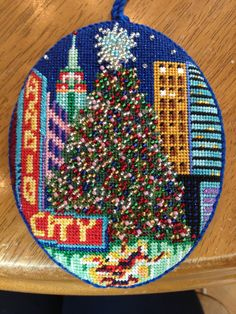 Beautiful use of beads, DJ Designs NYC needlepoint Christmas ornament