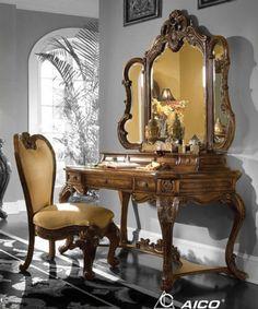 Cognac-4-pc-Rococo-Vanity-Desk-Set