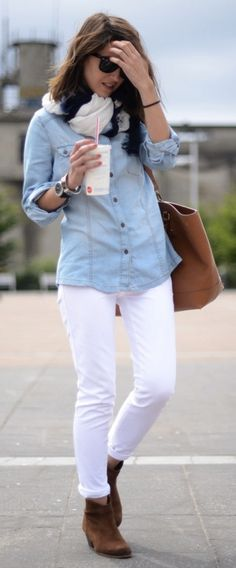 white jeans, chambray shirt, brown suede booties. Perfect way to transition your white jeans from summer right into great looks that work for the fall and winter as well.
