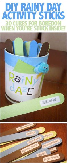 Rainy Daze activity sticks. 30 ideas for your kiddos to do on a rainy day... or snowy day... or any time!