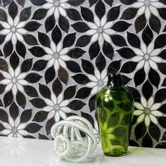 Wildflower Black Horizon Marble Tile - pinupi love to share Marble Bathroom, Beautiful Tile, Kitchen Backsplash, Tiles, Flower Tile, Shower Design, Mosaic, Colorful Bathroom Tile, Bathroom Design