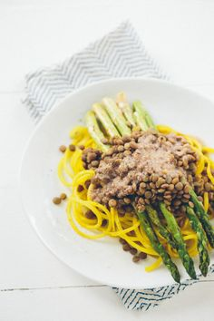 ... with Grilled Asparagus, Lentils and Roasted Garlic-Parmesan Dressing