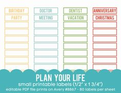free plan your life customizable labels designed to be printed on avery 8867